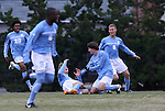 06 December 2008: North Carolina's Kirk Urso (in yellow shoes) is mobbed by teammates after scoring the game's only goal. The University of North Carolina Tar Heels defeated the Northwestern University Wildcats 1-0 at Fetzer Field in Chapel Hill, North Carolina in a NCAA Division I Men's Soccer tournament quarterfinal game.