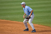 Second baseman Levi Michael #1 of the North Carolina Tar Heels on defense versus the Clemson Tigers at Durham Bulls Athletic Park May 23, 2009 in Durham, North Carolina. The Tigers defeated the Tar Heals 4-3 in 11 innings.  (Photo by Brian Westerholt / Four Seam Images)