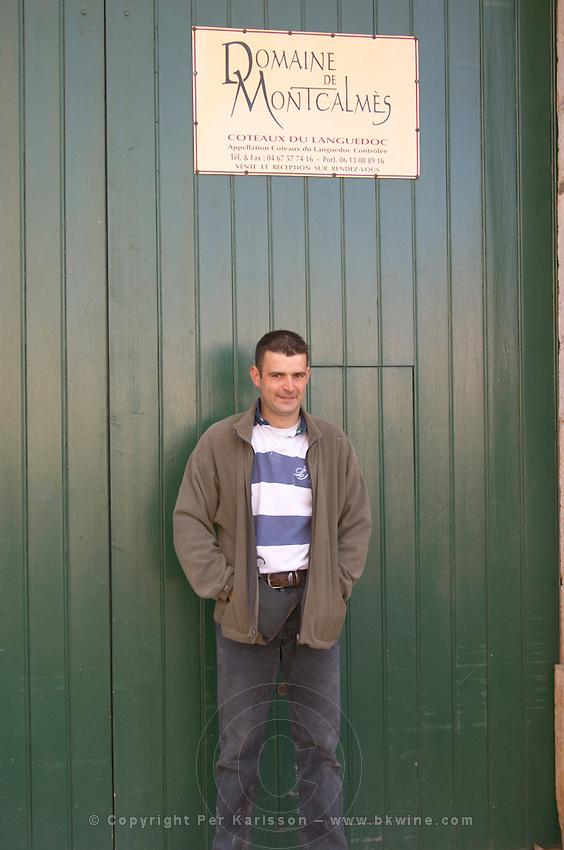 Frédéric Pourtalié Domaine de Montcalmes in Puechabon. Terrasses de Larzac. Languedoc. A door. Owner winemaker. France. Europe.