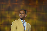 Canton, Ohio - August 1, 2014: Former NFL wide receiver Andre Reed receives his gold jacket during the Pro Football Hall of Fame's class of 2014 enshrinement dinner in Canton, Ohio  August 1, 2014. During his 16 seasons in the NFL, Reed had 13 seasons with 50 or more pass receptions (2nd in the NFL).  (Photo by Don Baxter/Media Images International)