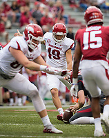 Hawgs Illustrated/BEN GOFF <br /> Connor Limpert kicks an extra point in the third quarter Saturday, April 6, 2019, during the Arkansas Red-White game at Reynolds Razorback Stadium.
