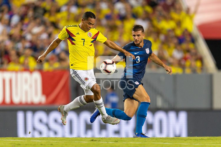 Tampa, FL - Thursday, October 11, 2018: Carlos Bacca, Matt Miazga during a USMNT match against Colombia.  Colombia defeated the USMNT 4-2.