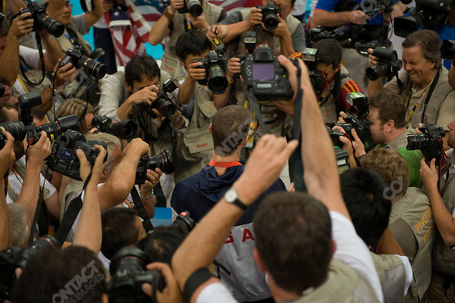 Michael Phelps with the media after winning his 8th gold medal of the games, National Aquatics Center, Summer Olympics, Beijing, China, August 17, 2008