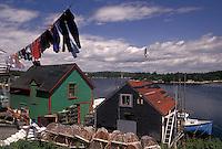 laundry, Nova Scotia, West Dover, fishing village, NS, Canada, Atlantic Ocean, Clothes hanging on a line to dry in the fishing village of West Dover in Nova Scotia.