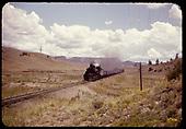 Locomotive pulling gondolas - east of Chama?<br /> D&amp;RGW  near Chama, NM