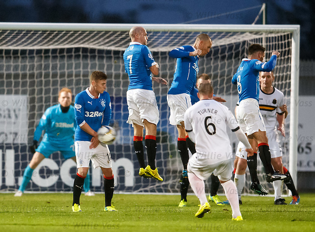 Lewis Macleod stands firm as the ball hits him from a free kick