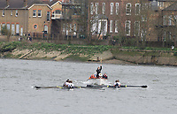 Mortlake/Chiswick, GREATER LONDON. United Kingdom Oxford University Women's Boat  Club, OUWBC vs Molesey BC,  Pre Boat Race Fixture, 2017 Boat Race, The Championship Course, Putney to Mortlake on the River Thames.<br /> Molesey BC. Coaching Launch. Chief Coach, Phil BOURGUIGNON. <br /> <br /> Sunday  19/03/2017<br /> <br /> [Mandatory Credit; Peter SPURRIER/Intersport Images]<br /> <br /> OUWBC Crew. S - Emily Cameron, 7 - Jenna Hebert, 6 - Harriet Austin, 5 - Chloe Laverack<br /> 4 - Rebecca Esselstein, 3 - Rebecca Te Water Naude, 2 &ndash; Beth Bridgman (sub for Flo Pickles who is ill). B &ndash; Alice Roberts  and Cox: Eleanor Shearer