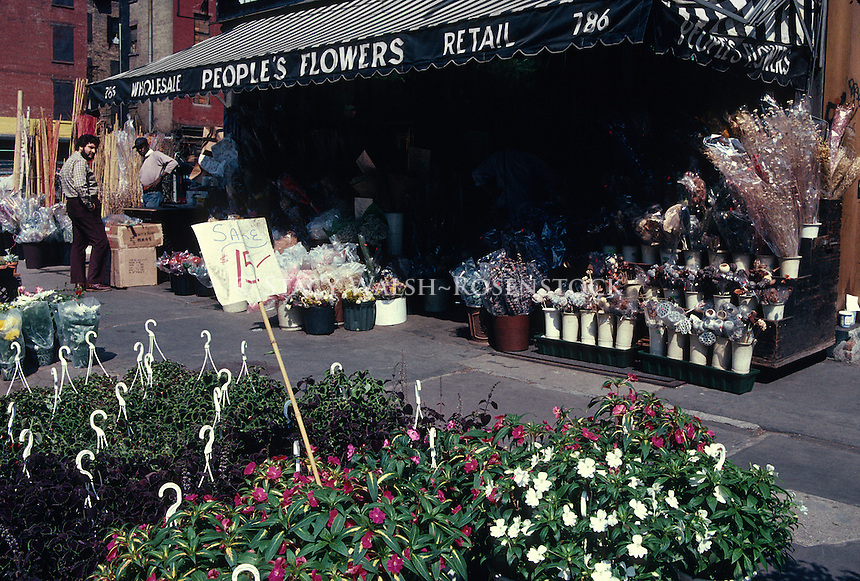 New York, NY - Circa May 1988 - Peoples Flowers, on Sixth Avenue, in the Flower District.