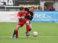 FC GULLEGEM - RC GENT :<br /> Oleksandr Beshliaha (R) zit Nicolas Gheeraert (L) in de nek<br /> <br /> Foto VDB / Bart Vandenbroucke