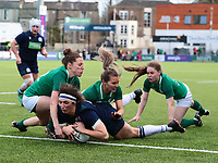 2nd February 2020; Energia Park, Dublin, Leinster, Ireland; International Womens Rugby, Six Nations, Ireland versus Scotland; Emma Wassell (Scotland) under pressure gets across the line to score a try