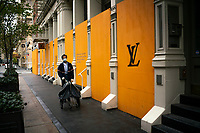 NEW YORK, NY - APRIL 20: The Store Louis Vuitton is seen covered with plywoods due to COVID-19 pandemic on April 20, 2020. in New York City. United States. U.S. President Trump is looking to get many Americans back to work as soon as possible, but also he recognizes that cities like New York will need to go slow. (Photo by Eduardo MunozAlvarez/VIEWpress)