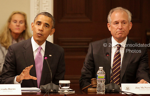 United States President Barack Obama delivers remarks at a meeting of his Export Council in the Eisenhower Executive Office Building in Washington, DC on September 19, 2013. At right is Jim McNerney, Jr., Chairman of the Board, President and CEO, Boeing Company.<br /> Credit: Yuri Gripas / Pool via CNP