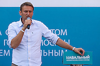 Moscow, Russia, 13/08/2013.<br /> Russian opposition blogger and political activist Alexei Navalny speaking to voters outside a shopping mall as he campaigns as a candidate for Moscow Mayor in elections scheduled for September 8th.