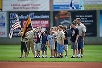 Boy scouts present the flag before a Clinton LumberKings game against the Great Lakes Loons on August 16, 2015 at Ashford University Field in Clinton, Iowa.  Great Lakes defeated Clinton 3-2.  (Mike Janes/Four Seam Images)