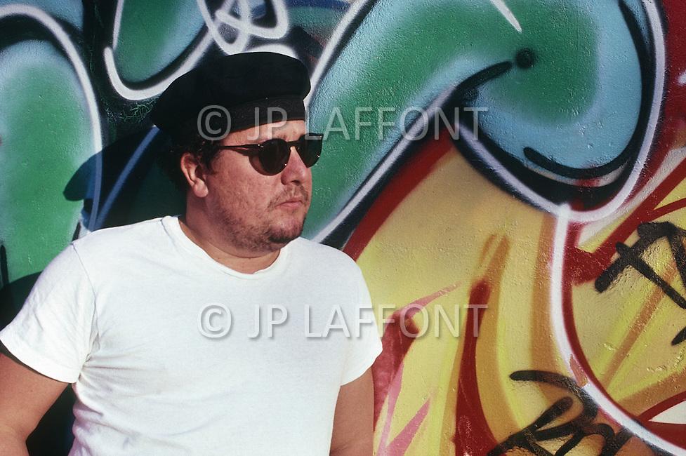 Manhattan, New York - October 5, 1988. French designer and architect Philippe Starck visits Harlem.