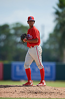 Philadelphia Phillies pitcher Israel Puello (60) gets ready to deliver a pitch during a Florida Instructional League game against the Baltimore Orioles on October 4, 2018 at Ed Smith Stadium in Sarasota, Florida.  (Mike Janes/Four Seam Images)
