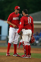 June 18th 2008:  Pitcher Ramon Delgado and catcher Charlie Cutler of the Batavia Muckdogs, Class-A affiliate of the St. Louis Cardinals, during a game at Dwyer Stadium in Batavia, NY.  Photo by:  Mike Janes/Four Seam Images