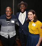 Michael R. Jackson, Douglas Lyons and Suzanne Appel  during the Vineyard Theatre's Emerging Artists Luncheon honoring Charly Evon Simpson with the Paula Vogel Playwriting Award at the National Arts Club on November 25, 2019 in New York City.