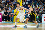 Real Madrid Sergio Llull and Iberostar Tenerife Ferran Bassas during first match quarter finals of Liga Endesa Playoff between Real Madrid and Iberostar Tenerife at Wizink Center in Madrid, Spain. May 27, 2018. (ALTERPHOTOS/Borja B.Hojas)