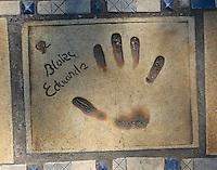 Hand print of the film director, Blake Edwards, outside the Palais des Festivals et des Congres, Cannes, France.