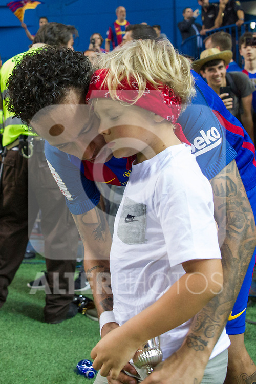Neymar Santos Jr of FC Barcelona and his son during the match of  Copa del Rey (King's Cup) Final between Deportivo Alaves and FC Barcelona at Vicente Calderon Stadium in Madrid, May 27, 2017. Spain.. (ALTERPHOTOS/Rodrigo Jimenez)