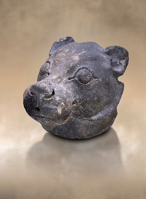 Minoan clay lion's head rhython, Akrotiri, Thira (Santorini) National Archaeological Museum Athens. 17th-16th cent BC.<br /> <br /> Created in a naturalistic style, this lions head rhython has a small pouring hole in its muzzle and would have been used during ceremonies