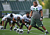 Nick Mangold #74,  New York Jets center, right, stretches with teammates at the start of a day of team training camp at Atlantic Health Jets Training Center in Florham Park, NJ on Thursday, Aug. 4, 2016.
