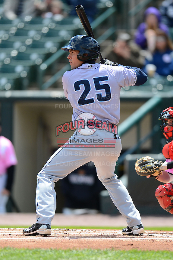 Columbus Clippers outfielder Matt Carson #25 during a game against the Rochester Red Wings on May 12, 2013 at Frontier Field in Rochester, New York.  Rochester defeated Columbus 5-4.  (Mike Janes/Four Seam Images)