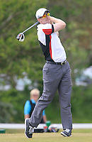Michael Brett (Portmarnock) on the 1st tee during the 2nd round of the East of Ireland Amateur Open Championship 2013 Co Louth Golf club 2/6/13<br /> Picture:  Thos Caffrey / www.golffile.ie