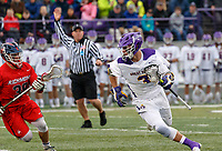 TD Ierlan (#3) attacks after a faceoff win as UAlbany Men's Lacrosse defeats Richmond 18-9 on May 12 at Casey Stadium in the NCAA tournament first round.