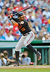 18 May 2012: Baltimore Orioles outfielder Adam Jones in action against the Washington Nationals at Nationals Park in Washington, DC. The Orioles defeated the Nationals 2-1 in the first game of their 3-game series. Mandatory Credit: Ed Wolfstein Photo