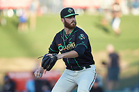 Ocelotes de Greensboro starting pitcher Colin Selby (38) in action against the Hickory Crawdads at First National Bank Field on June 11, 2019 in Greensboro, North Carolina. The Crawdads defeated the Ocelotes 2-1. (Brian Westerholt/Four Seam Images)