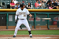 Roberto Lopez (30) of the Salt Lake Bees at bat against the Reno Aces at Smith's Ballpark on May 4, 2014 in Salt Lake City, Utah.  (Stephen Smith/Four Seam Images)