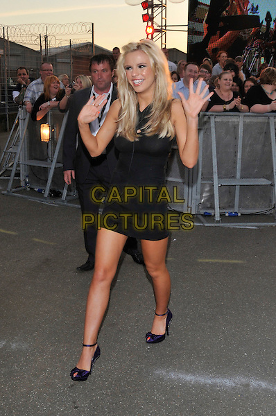 STEPHANIE McMICHAEL.Housemates enter the Big Brother House for Big Brother 9,.Borehamwood, England, 5th June 2008..arrivals Full length black mini dress waving purple shoes ankle strap hands.CAP/PL.©Phil Loftus/Capital Pictures