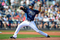 Tampa Bay Rays pitcher Cesar Ramos #27 during a Grapefruit League Spring Training game against the Boston Red Sox at Charlotte County Sports Park on February 25, 2013 in Port Charlotte, Florida.  Tampa Bay defeated Boston 6-3.  (Mike Janes/Four Seam Images)