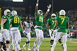 Oct 07, 2015; Eugene, OR, USA; Oregon Ducks wide receiver Dwayne Stanford (88) raises his arms after scoring a touchdown against the California Golden Bears at Autzen Stadium. <br /> Photo by Jaime Valdez
