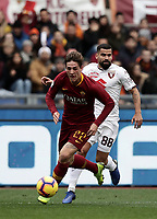 Football, Serie A: AS Roma - Torino, Olympic stadium, Rome, January 19, 2019. <br /> Roma's Nicol&ograve; Zaniolo (l) in action with Torino's Tomas Eduardo Rincon (r) during the Italian Serie A football match between AS Roma and Torino at Olympic stadium in Rome, on January 19, 2019.<br /> UPDATE IMAGES PRESS/Isabella Bonotto