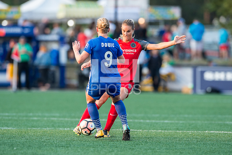 Boston, MA - Sunday September 10, 2017: Natasha Dowie and Amandine Henry during a regular season National Women's Soccer League (NWSL) match between the Boston Breakers and Portland Thorns FC at Jordan Field.