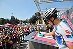 Maglia Bianca Miguel Angel Lopez (COL) Astana Pro Team at sign on before the start of Stage 18 of the 2018 Giro d'Italia, running 196km from Abbiategrasso to Prato Nevoso, Italy. 24th May 2018.<br />