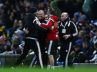 Swansea City caretaker manager Alan Curtis celebrates his teams goal to make it 1-1 during the Barclays Premier League match between Manchester City and Swansea City played at the Etihad Stadium, Manchester on December 12th 2015