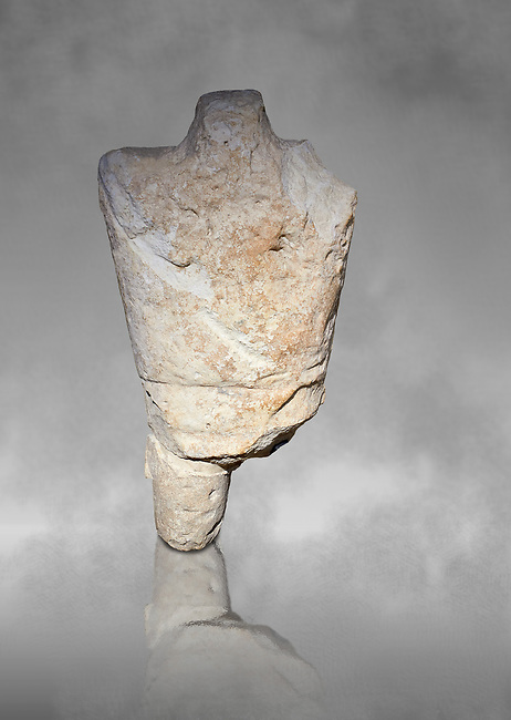 9th century BC Giants of Mont'e Prama  Nuragic stone statue of a boxer, Mont'e Prama archaeological site, Cabras. Museo archeologico nazionale, Cagliari, Italy. (National Archaeological Museum) - Grey Art Background