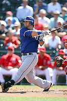Mike Napoli #25 of the Texas Rangers plays in a spring training game against the Los Angeles Angels at Tempe Diablo Stadium on March 8, 2011  in Tempe, Arizona. .Photo by:  Bill Mitchell/Four Seam Images.