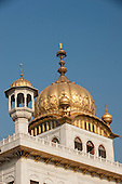 Amritsar, Punjab, India. The main fluted dome of the Golden Temple - Harmandir Sahib - with gold covering the lotus flower relief design.