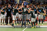 GER - Luebeck, Germany, February 07: Players of HTC Uhlenhorst Muehlheim receive their trophy after winning the Deutsche Meisterschaft during the prize giving ceremony at the Final 4 on February 7, 2016 at Hansehalle Luebeck in Luebeck, Germany. (Photo by Dirk Markgraf / www.265-images.com) *** Local caption ***