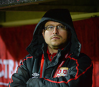 20151130 - LEUVEN ,  BELGIUM : Serbian coach Boris Arsic  pictured during the female soccer game between the Belgian Red Flames and Serbia , the third game in the qualification for the European Championship in The Netherlands 2017  , Monday 30 November 2015 at Stadion Den Dreef  in Leuven , Belgium. PHOTO DIRK VUYLSTEKE