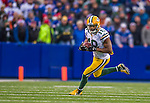 14 December 2014: Green Bay Packers wide receiver Randall Cobb takes a flat pass for a 14-yard gain and a first down in the fourth quarter against the Buffalo Bills at Ralph Wilson Stadium in Orchard Park, NY. The Bills defeated the Packers 21-13, snapping the Packers' 5-game winning streak and keeping the Bills' 2014 playoff hopes alive. Mandatory Credit: Ed Wolfstein Photo *** RAW (NEF) Image File Available ***