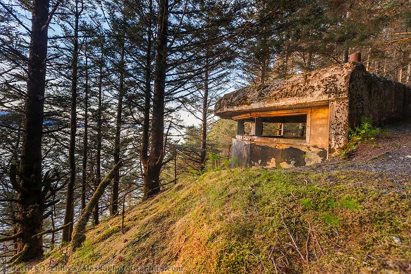 World war II relic bunker on the coastal shores of Kodiak Island in Ambercrombie State Park, Kodiak, Alaska.