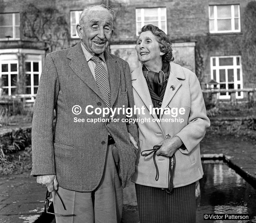 83 year old Lord Brookeborough, 1st Viscount, of Colebrooke Park, Brookeborough, Co Fermanagh, N Ireland, UK, with his bride-to-be, Mrs Irene Calvert, the widow of Cecil Calvert, who was director of neurosurgery at the Royal Victoria Hospital, Belfast. 197102000105b.<br />
