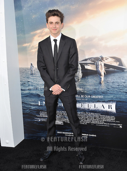 Timothee Chalamet at the Los Angeles premiere of his movie Interstellar at the TCL Chinese Theatre, Hollywood.<br /> October 26, 2014  Los Angeles, CA<br /> Picture: Paul Smith / Featureflash