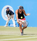 June 13th 2017, Nottingham, England; WTA Aegon Nottingham Open Tennis Tournament;  Backhand from Tara Moore of Great Britain who lost in two sets to Johanna Konta of Great Britain
